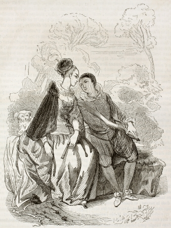Boy and girl sitting on a bench old illutration. After painting of Watteauu school kept in Rennes museum, published on Magasin Pittoresque, Paris, 1844 Stock Photo - 15270137