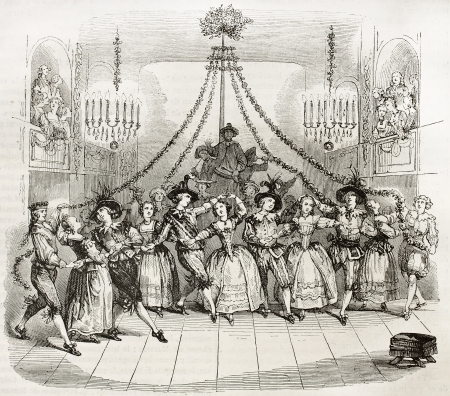 Carnival ball in Versailles in in 1763. After old print by unidentified author, published on Magasin Pittoresque, Paris, 1844