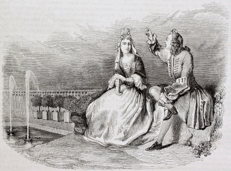 courtship: Man and woman conversating, old illustration. Created by Picard, published on Magasin Pittoresque, Paris, 1844