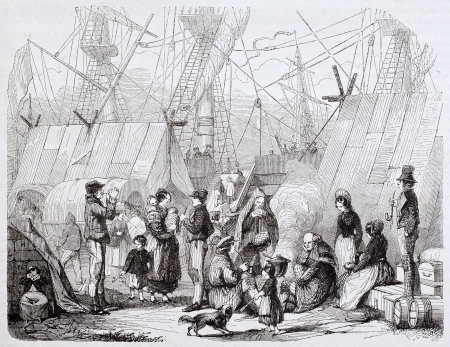 emigration: Emigrants in Le Havre seaport. Created by Charton, published on Magasin Pittoresque, Paris, 1844  Editorial