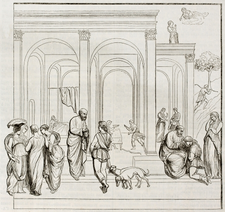 jacob: Bas-relief depicting Esau and Jacob on the Florence baptistery main door, old illustration. After Lorenzo Ghiberti, published on Magasin Pittoresque, Paris, 1844