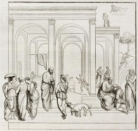 humanisme: Bas-relief repr�sentant Esa� et Jacob sur la porte du baptist�re de Florence principale, vieille illustration. Apr�s Lorenzo Ghiberti, publi� le Magasin Pittoresque, Paris, 1844 Editeur