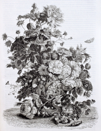 old fashioned vegetables: Flowers vase old illustration. Created by Von-Huysum, published on Magasin Pittoresque, Paris, 1844