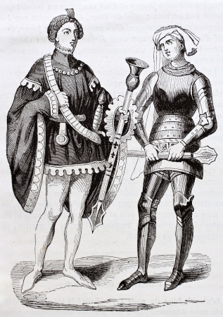 French medieval costumes old illustration: two gendarmes. Created by Mifliez, published on Magasin Pittoresque, Paris, 1844