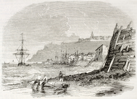 sea seaport: Granville seaport old view, France. Created by Morel Fatio, published on Magasin Pittoresque, Paris, 1844