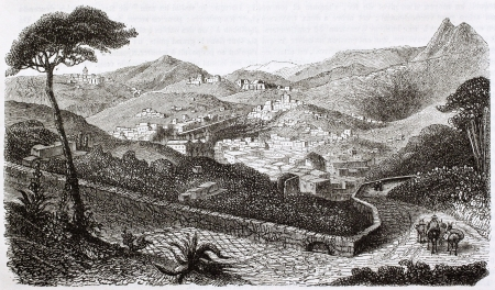 Guanajuato old view, Mexico. Created by Beuguelet, published on Magasin Pittoresque, Paris, 1844