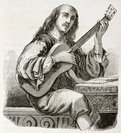 Guitarist old illustration. Created by Montigneul after Daret, published on Magasin Pittoresque, Paris, 1844 Editorial