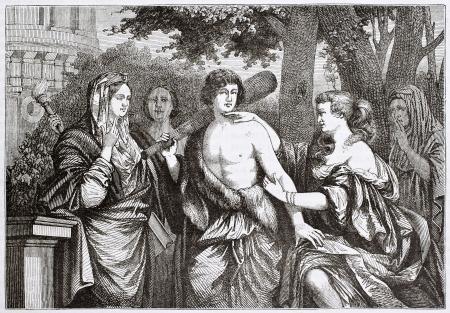 antigua grecia: Hércules entre el vicio y la virtud, la ilustración anterior. Creado por Lairesse, publicado el Magasin Pittoresque, París, 1844