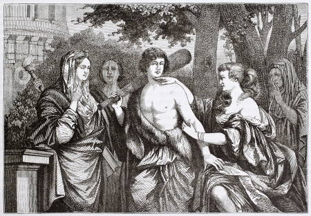 virtue: Hercules between vice and virtue, old illustration. Created by Lairesse, published on Magasin Pittoresque, Paris, 1844 Editorial