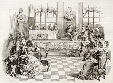 nobility: 18th century home concert, old illustration. Created by Saint-Aubin, published on Magasin Pittoresque, Paris, 1844