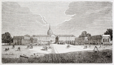 Industry expo 1806 in the Hotel-des-Invalides square, Paris. By unidentified author, Bonnardot collection, published on Magasin Pittoresque, Paris, 1844 Stock Photo - 15270365
