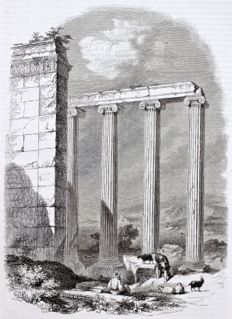 asian ancestry: Ionic temple ruins in Azania, Asia Minor. Created by Delabord, Becker and Hall, published on Magasin Pittoresque, Paris, 1844