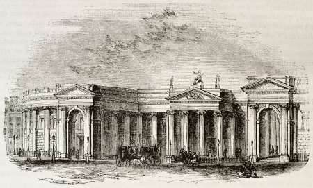 unification: Irish bank, Dublin. Irish parliament seat before UK unification. By unidentified author, published on Magasin Pittoresque, Paris, 1844