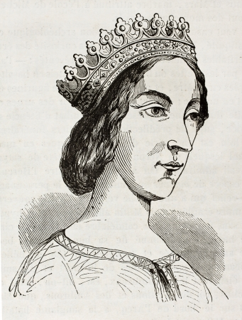 anjou: Jeanne de Laval viejo grabado retrato, segunda esposa y reina consorte de Ren� de Anjou. Despu�s de dibujar del siglo 15, publicada en Magasin Pittoresque, Par�s, 1844 Editorial