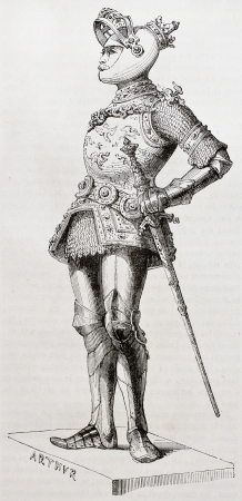 arthur: King Arthur old illustration. Created by Forest after statue (kept in Court Church, Innsbruck) of Durer and Vischer the Elder.  Published on Magasin Pittoresque, Paris, 1844  Editorial