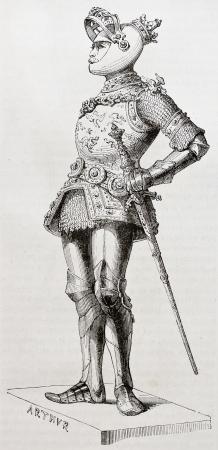 durer: Re Art� vecchia illustrazione. Creato da Foresta dopo statua (tenuto in Chiesa di Corte di Innsbruck) di Durer e Vischer il Vecchio. Pubblicato il Magasin Pittoresque, Parigi, 1844