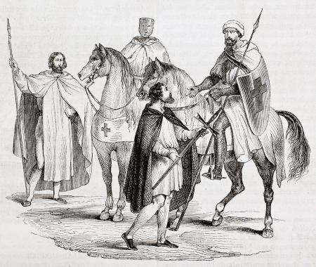 Knights Templar old illustration. Created by Miflietz, published on Magasin Pittoresque, Paris, 1844 Éditoriale