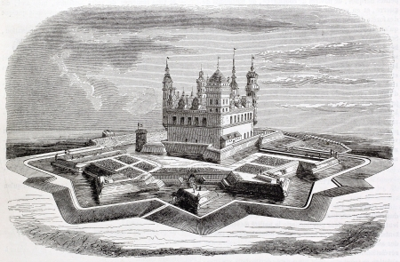 denmark: Kronborg castle old illustration, Denmark. By unidentified author after old Danish print, published on Magasin Pittoresque, Paris, 1844 Editorial