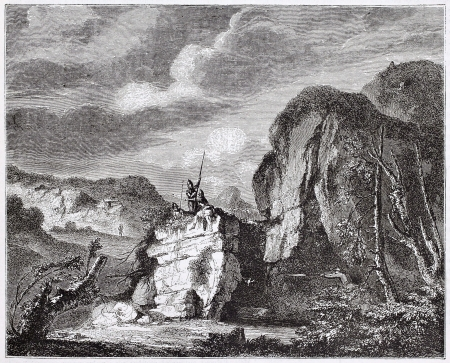 salvator: Landscape, engraved by Gonland after painting of Salvator Rosa kept in Louvre museum, Italian baroque painter. published on Magasin Pittoresque, Paris, 1844 Editorial