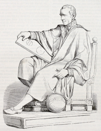 black ancestry: Pierre-Simon Laplace statue old illustration, French mathematician and astronomer. Created by Gstaal after sculpture of Garraud, published on Magasin Pittoresque, Paris, 1844