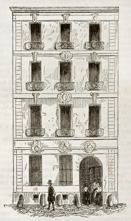 John Law house (famous banker) in rue Quincampoix, Paris. By unidentified author, published on Magasin Pittoresque, Paris, 1844 Stock Photo - 15270553