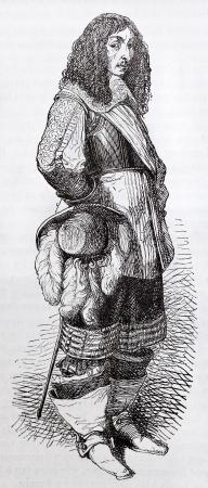 nobleman: Louis II de Bourbon, prince de Conde, old engraved portrait. Created by Montigneul, published on Magasin Pittoresque, Paris, 1844
