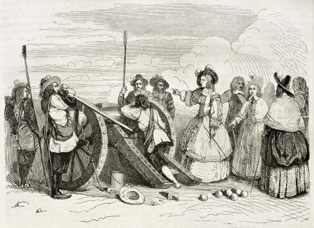 commanding: Marie de Bourbon, Duchess of Montpensier (known as Mademoiselle de Montpensier), commanding cannon shot. Created by Penguilly and Montigneul, published on Magasin Pittoresque, Paris, 1844