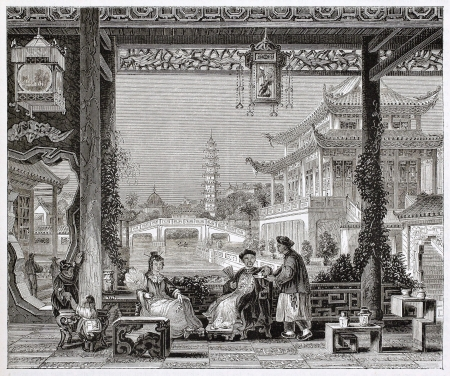 Mandarin house in Beijing, old illustration. By unidentified author, published on Magasin Pittoresque, Paris, 1844