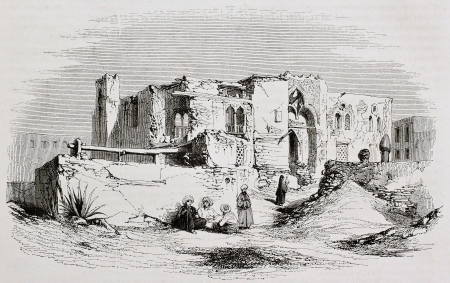 Mansoura, Egypt: edifice were Saint Louis was kept prisoner. Created by Girardet, published on Magasin Pittoresque, Paris, 1844