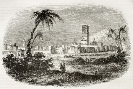 Marrakesh old view, Morocco. By unidentified author, published on Magasin Pittoresque, Paris, 1844