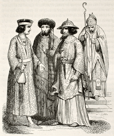 herbe: 12th century costumes of noblemen and bishop. Created by Herbe, published on Magasin Pittoresque, Paris, 1844