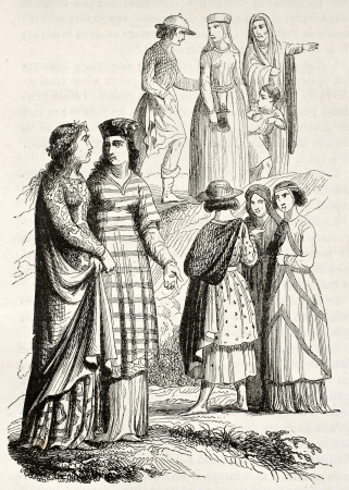 Medieval costumes of noblewomen and bourgeois. Created by Mifliez, published on Magasin Pittoresque, Paris, 1844 Éditoriale