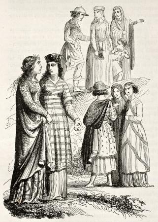 medioevo: Costumi medievali di nobildonne e borghesi. Creato da Mifliez, pubblicato il Magasin Pittoresque, Parigi, 1844 Editoriali