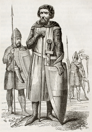 Medieval soldiers old illustration. Created by Montfaucon and Willemin, published on Magasin Pittoresque, Paris, 1844 Editorial
