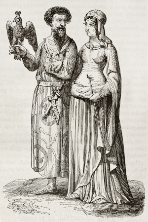 herbe: Medieval nobleman and noblewoman old illustration. Created by Herbe and Viel-Castel, published on Magasin Pittoresque, Paris, 1844  Editorial