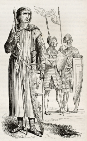 published: Medieval costumes of warriors. Created by Montfaucon, published on Magasin Pittoresque, Paris, 1844