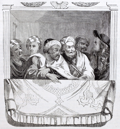 ambassador: Moroccan Ambassador and his officer in Versailles theater box. After egraving of 1699 by unknown author, published on Magasin Pittoresque, Paris, 1844