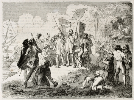 New world discovery by Christopher Columbus. Created by Colin, published on Magasin Pittoresque, Paris, 1844 Éditoriale