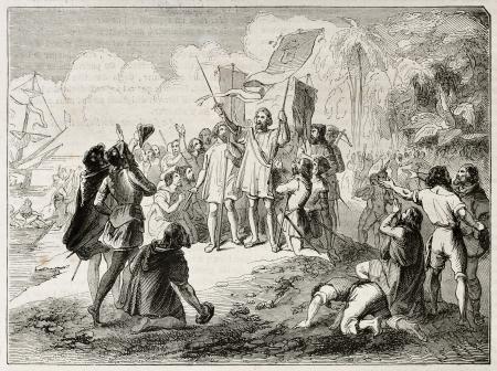 colonisation: Nuovo mondo, scoperta da Cristoforo Colombo. Creato da Colin, pubblicato il Magasin Pittoresque, Parigi, 1844