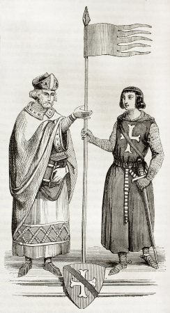 bishop: Henri of Metz receiving the Oriflamme. Created by Montfaucon, published on Magasin Pittoresque, Paris, 1844 Editorial