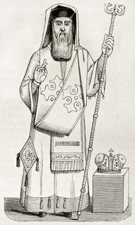 bishop: Old illustration of Greek orthodox bishop vestment. Created by Durand, published on Magasin Pittoresque, Paris, 1844 Editorial