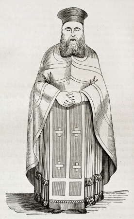 bishop: Old illustration of Greek orthodox priest vestment. Created by Durand, published on Magasin Pittoresque, Paris, 1844