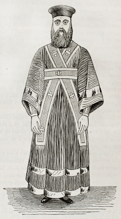 vestment: Old illustration of Greek orthodox lower deacon vestment. Created by Durand, published on Magasin Pittoresque, Paris, 1844