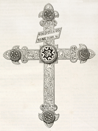 chiseled: Crucifix kept in Orval church, old illustration. By unidentified author, published on Magasin Pittoresque, Paris, 1844