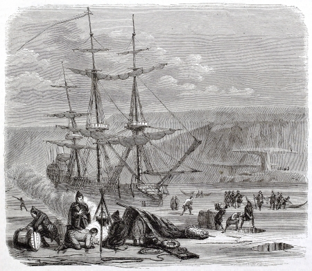 bivouac: The Pelican, French vessel, in the Hudson bay. Created by Brugnot, published on Magasin Pittoresque, Paris, 1844