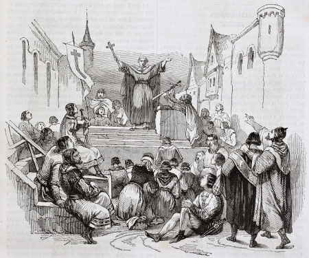 crusade: Peter the Hermit preaching the first crusade, old illustration. Created by Wattier, published on Magasin Pittoresque, Paris, 1844
