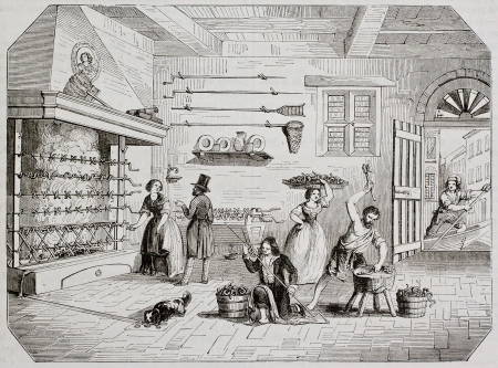 Pickled eels preparation in Comacchio, Italy, old illustration. By unidentified author, published on Magasin Pittoresque, Paris, 1844 Stock Photo - 15270144