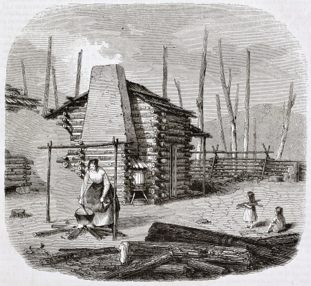 pioneers: North-American pioneers hut, old illustration. Created by Saint-Aulaire, published on Magasin Pittoresque, Paris, 1844