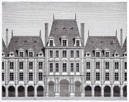 mansard: Queen pavilion in place des Vosges (formerly place Royale). By unidentified author, published on Magasin Pittoresque, Paris, 1844