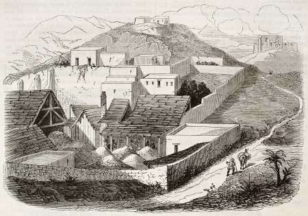 establishment: Rayas silver mine establishment old illustration, Guanajuato, Mexico. Created by Fores, published on Magasin Pittoresque, Paris, 1844